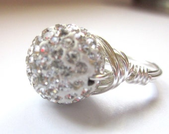 Ready to Ship, Pave Ring- Sparkle Ring, Swarovski Crystals, Summer Jewelry, white pave