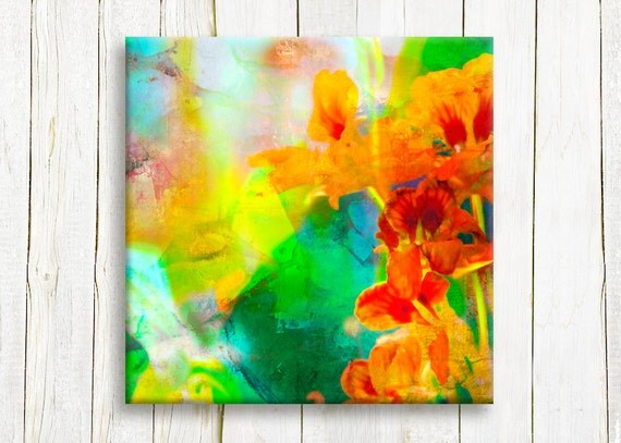Neon color floral art printed on canvas - home and living decor - housewarming gift