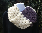 Ivory and purple crocheted cowl  FREE SHIPPING