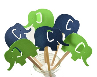 12  Elephant Cupcake Toppers/ Elephant Baby Shower / Elephant Party Decor / Navy & Green Elephant Party / Elephant Party Favors