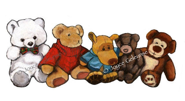 Soft Toys Clip Art : Freehand clip art five stuffed animals in a row oil pastel