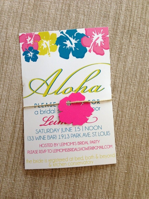 Hawaiian Bridal Shower Invitation Hibiscus Wedding by AntsyDesigns