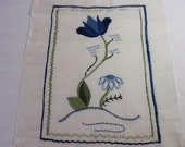 Embroidered Linen Tulip Blue Echinacea, Vintage Linen, Colbalt Decor, Unfinished Embroidery