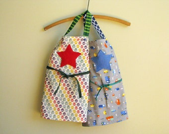 Kids apron for craft, gardening or cooking boy stars or skulls