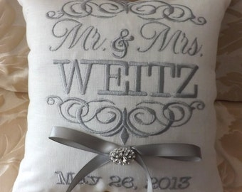 Ring Bearer Pillow,Mr. & Mrs. Ring Bearer Pillow. ring pillow, custom, personalized, wedding pillow I (RB101)
