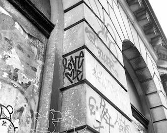 Love Me Photograph -  Digital Print - Photo Mat - New York City - Graffiti - Black and White