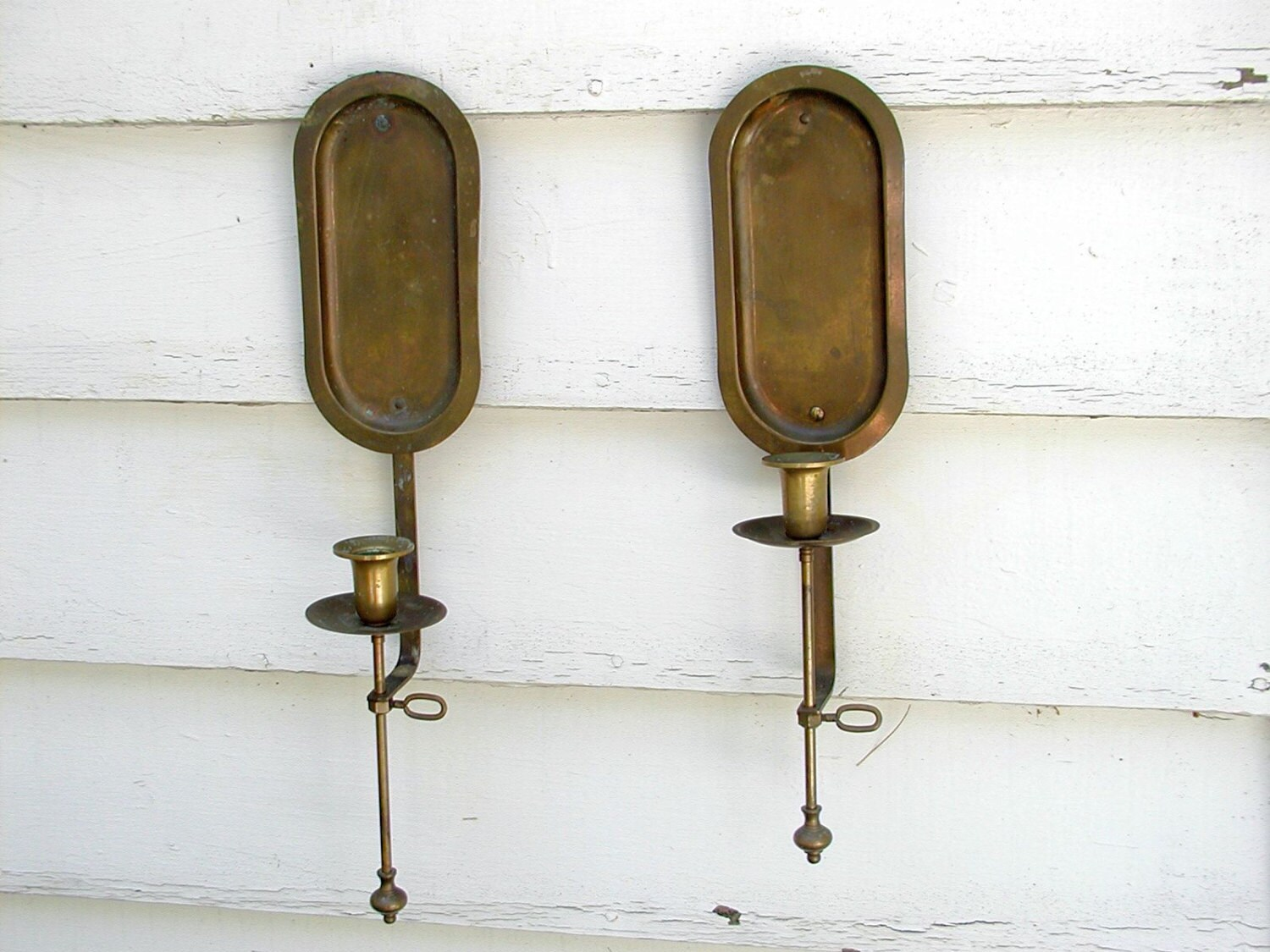 Pair Vintage Brass Wall Sconces Candle Holders by Idugitup on Etsy