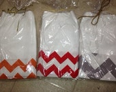 Chevron kitchen towel monogrammed Grey Red or Orange