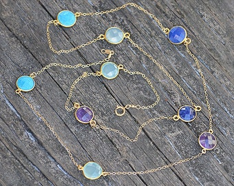 Purple Amethyst necklace, Turquoise necklace, Aqua Chalcedony necklace, long necklace, station necklace, gemstone necklace, gold necklace