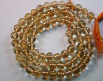 Natural AAA Quality Citrine 5 to 6mm Smooth Round Gemstone Beads 13 Inches RD045