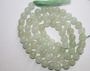 2 X Natural AAA Quality Parrot Green Aventurian 5 to 6mm Smooth Round Gemstone Beads 13 Inches RD072