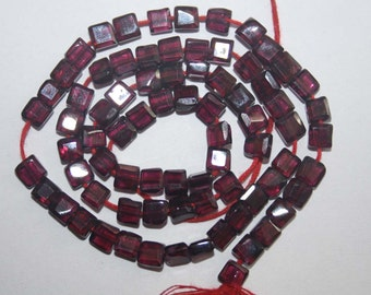 Natural AAA Quality Garnet 4mm Faceted Square Gemstone Beads 13 Inches FMX07