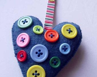 Heart Shape Handbag Charm with colorful buttons