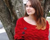 BIG SALE : Ruby Red  Mini Capelet (was marked at 35.00)