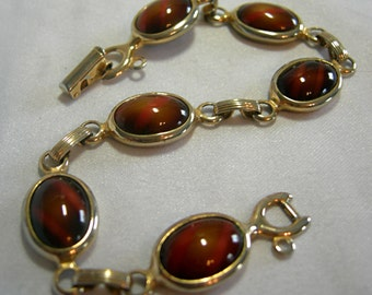 Gold Tone and Brown Art Glass Cabochon Bracelet - Wood Nymph Collection - Signed SARAH COVENTRY - Vintage Circa 1968