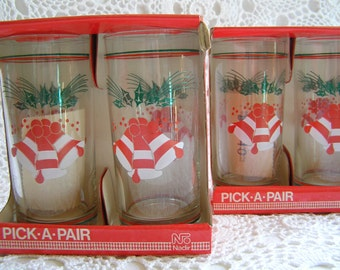 Set of 4 Glass Jingle Bell Holiday Christmas Glass Cups, Glasses, Tumblers, Red & Green, New in Box