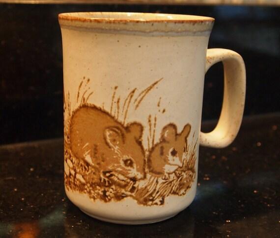 Dunoon ceramics field mouse mice vintage stoneware tea mug for Natural stone coffee mugs