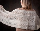 """Lace Scarf/Shawl for Women/Ladies """"Quadra Island"""", handknit in pure fine undyed merino yarn - READY TO SHIP  gift for her"""