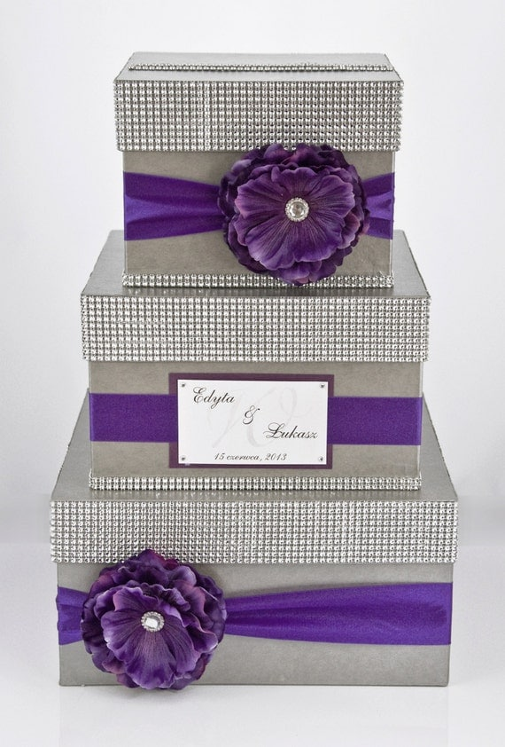 Wedding Card box / Card holder / Wedding money box - 3 tier - Personalized - Purple