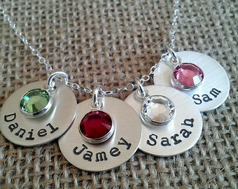 4-Charm Kids Name Necklace-  Mom Necklace - Family Necklace - Stamped Evermore