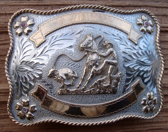 Vintage Rodeo Cowboy Belt Buckle Silver Tone Metal And Brass