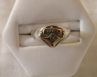 Antique Sterling Silver Signet Ring - Size 5 1/2 U.S.