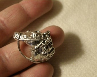 Robust Sterling Silver Horse with Reins Ring - Size 8 1/2 U.S.