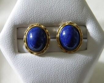 14K Gold Lapis Earrings