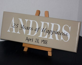 50th Wedding Anniversary or 25th Wedding Anniversary Personalized Family Name Wood Sign with Established Date