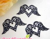 CH-ME-01864 - Black enameled, Filigree heart wing , 4 pcs