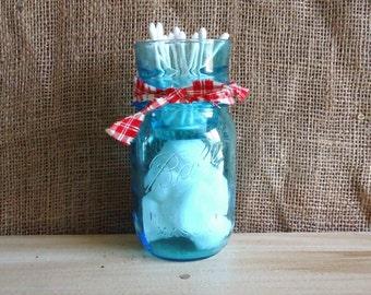 bathroom organizer, Bathroom storage, blue mason jar, candle holder, cottage chic, farmhouse nursey