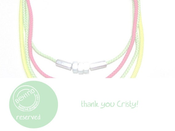 RESERVED FOR CRISTY - Neon cords necklace with steel nuts