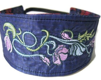 Reversible Headband, Recycled Paraglider Dark Blue Floral Embroidery Headband, Boho Chic Headband