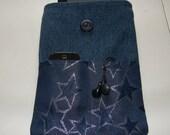 Upcycled Dark Blue Denim Silver Stars Sleeve Pouch Handmade