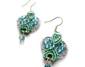 Mint and Pink Macrame Little Earrings Pastel Tones