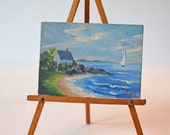 Miniature Painting Seaside Sea Sailboat Coast with Easel