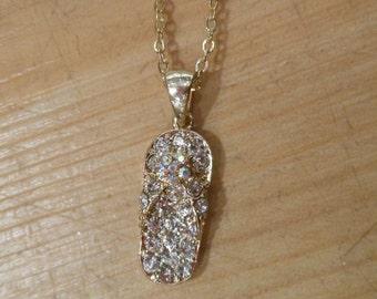 Flip Flop Necklace - Rhinestone Gold Flip Flop Necklace
