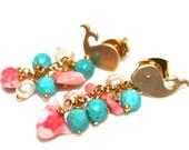 Gold Whale Earrings Coral Earrings Ocean Jewelry Bright Jewelry Turquoise Earrings Freshwater Pearl Earrings FizzCandy