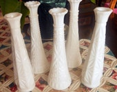 "Vintage Milk Glass Wedding Decor Bud Vases, Set of 5 in Diamond Cut Patterns, All Approx. 8 7/8"" Tall, no Cracks or Chips"