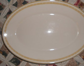 Vintage 1970s Homer Laughlin Platter with Gold Edge Trim labeled Best China made in USA.