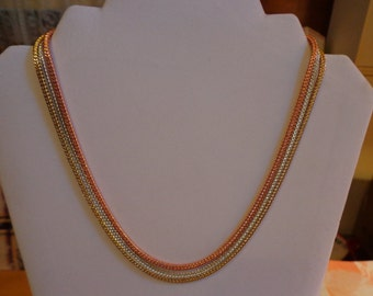 Tri color chain necklace