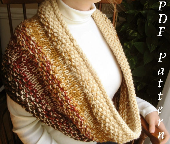 Snowman Knitting Patterns : Chunky Cowl Knitting Pattern Oversized by LaurelSusanStudioToo