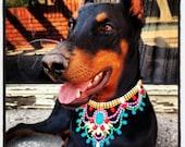 CUSTOM Pastel Neon Bib Hand Painted Rhinestone Statement Necklace