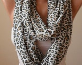Christmas Gift - Valentine's Day Gift - Trendy Gift Scarf - Leopard Scarf - Soft Cotton Infinity Scarf