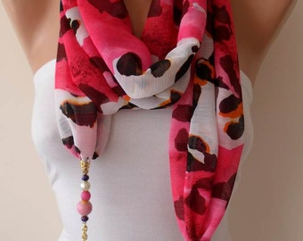 Gift for Her Scarf Scarves Shawl Fashion Accessories Fall Winter Scarf Gift for Women Jewelry Scarf Chiffon Fabric with Beads and Chain