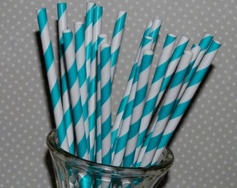 Stripe Straws - 25 Dark Aqua Striped Paper straws - Drinking Straws with  Flags / Pendants - cake toppers  vintage party straws
