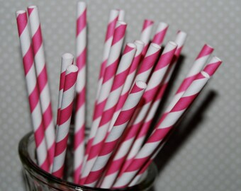 Paper straws 100 Dark Pink stripe straws Raspberry Pink barber striped paper drinking straws - with FREE Flags / Pendants vintage straws