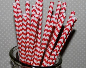 Chevron Straws - Red - 25 paper straws & Flags - chevron stripe drinking straws - zig zag cake pop sticks vintage party straws