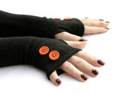 Winter  hend Warmers Fingerless Gloves with Orange Buttons -  Texting Gloves,  Hand Warmers, Mitts, Arm Gloves, Gloves, Arm Sleeves