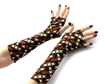 Retro  Arm Warmers with Black and Orange Circles , Fingerless gloves, mittens, Hand Warmers , Cuffs , knitted, cotton, urban clothing urban